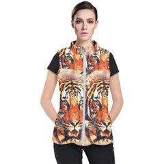 Tiger Portrait Art Abstract Women s Puffer Vest by Nexatart