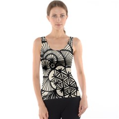 Background Abstract Beige Black Tank Top by Nexatart