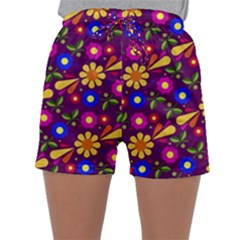 Flower Pattern Illustration Background Sleepwear Shorts