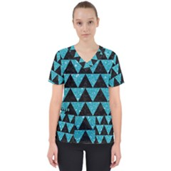 Triangle2 Black Marble & Turquoise Glittertriangle2 Black Marble & Turquoise Glitter Scrub Top by trendistuff