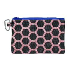 Hexagon2 Black Marble & Pink Glitter (r) Canvas Cosmetic Bag (large) by trendistuff