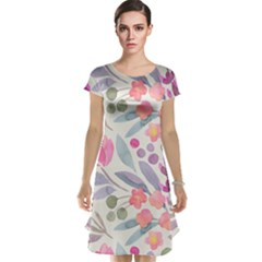 Purple And Pink Cute Floral Pattern Cap Sleeve Nightdress