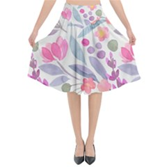 Purple And Pink Cute Floral Pattern Flared Midi Skirt