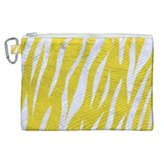 Skin3 White Marble & Yellow Leather Canvas Cosmetic Bag (xl) by trendistuff