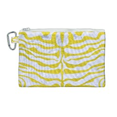 Skin2 White Marble & Yellow Leather (r) Canvas Cosmetic Bag (large) by trendistuff