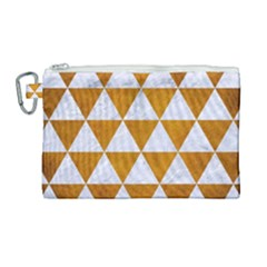 Triangle3 White Marble & Yellow Grunge Canvas Cosmetic Bag (large) by trendistuff