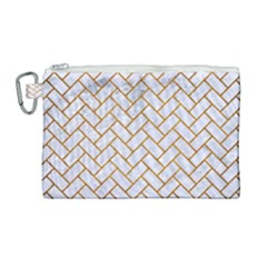 Brick2 White Marble & Yellow Grunge (r) Canvas Cosmetic Bag (large) by trendistuff