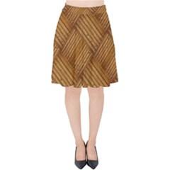 Wood Texture Background Oak Velvet High Waist Skirt by Nexatart