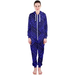 Cobalt Blue Weave Texture Hooded Jumpsuit (ladies)