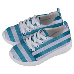 Stripes2white Marble & Teal Brushed Metal Kids  Lightweight Sports Shoes by trendistuff