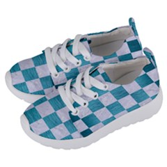 Square1 White Marble & Teal Brushed Metal Kids  Lightweight Sports Shoes by trendistuff