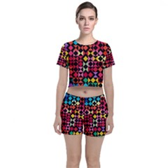 Colorful Rhombus And Triangles                          Crop Top And Shorts Co Ord Set by LalyLauraFLM