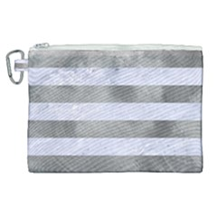 Stripes2white Marble & Silver Paint Canvas Cosmetic Bag (xl) by trendistuff