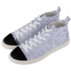 Skin5 White Marble & Silver Glitter Men s Mid Top Canvas Sneakers by trendistuff