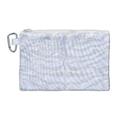 Skin2 White Marble & Silver Glitter (r) Canvas Cosmetic Bag (large) by trendistuff