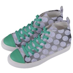 Circles2 White Marble & Silver Brushed Metal Women s Mid Top Canvas Sneakers by trendistuff