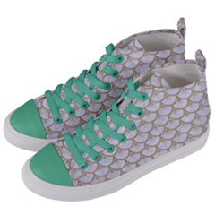 Scales3 White Marble & Sand (r) Women s Mid Top Canvas Sneakers by trendistuff