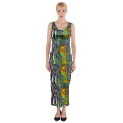 May Be A Woman In Manga Fire Fitted Maxi Dress