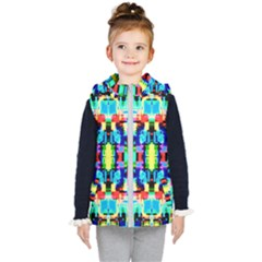 Artwork By Patrick  Colorful 1 Kid s Hooded Puffer Vest by ArtworkByPatrick