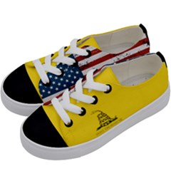 Gadsden Flag Don t Tread On Me Kids  Low Top Canvas Sneakers by gooomega