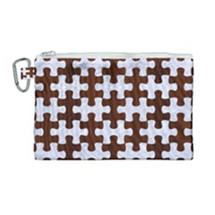 Puzzle1 White Marble & Reddish Brown Wood Canvas Cosmetic Bag (large) by trendistuff