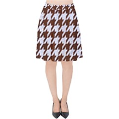 Houndstooth1 White Marble & Reddish Brown Wood Velvet High Waist Skirt by trendistuff