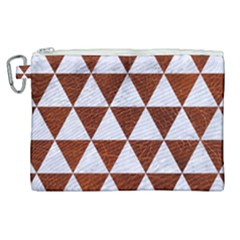 Triangle3 White Marble & Reddish Brown Leather Canvas Cosmetic Bag (xl) by trendistuff
