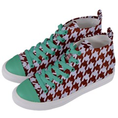 Houndstooth1 White Marble & Reddish Brown Leather Women s Mid Top Canvas Sneakers by trendistuff