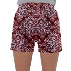 Damask1 White Marble & Red Wood Sleepwear Shorts by trendistuff