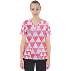 Triangle3 White Marble & Red Watercolor Scrub Top by trendistuff