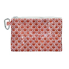 Scales2 White Marble & Red Marble Canvas Cosmetic Bag (large) by trendistuff