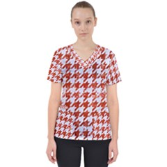 Houndstooth1 White Marble & Red Marble Scrub Top by trendistuff