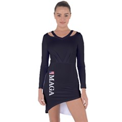 Maga Make America Great Again With Us Flag On Black Asymmetric Cut Out Shift Dress by snek