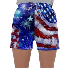 American Flag Red White Blue Fireworks Stars Independence Day Sleepwear Shorts by Sapixe