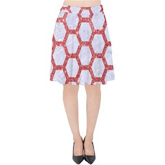 Hexagon2 White Marble & Red Glitter (r) Velvet High Waist Skirt by trendistuff