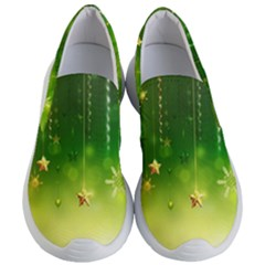 Christmas Green Background Stars Snowflakes Decorative Ornaments Pictures Women s Lightweight Slip Ons by Sapixe