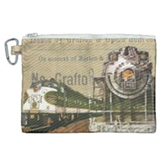 Train Vintage Tracks Travel Old Canvas Cosmetic Bag (xl) by Nexatart