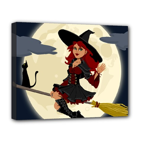 Witch Witchcraft Broomstick Broom Deluxe Canvas 20  X 16   by Nexatart