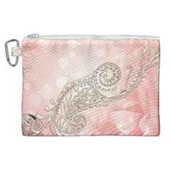 Wonderful Soft Flowers With Floral Elements Canvas Cosmetic Bag (xl) by FantasyWorld7