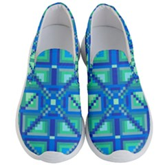 Grid Geometric Pattern Colorful Men s Lightweight Slip Ons by Sapixe
