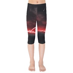 Outer Space Red Stars Star Kids  Capri Leggings  by Sapixe