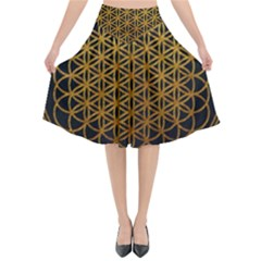 Tree Of Live Pattern Flared Midi Skirt