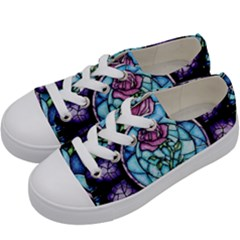 Cathedral Rosette Stained Glass Kids  Low Top Canvas Sneakers by Samandel