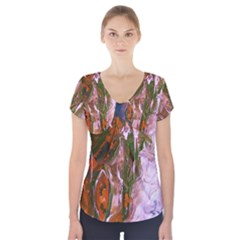 Close To Pinky,s House 12 Short Sleeve Front Detail Top by bestdesignintheworld