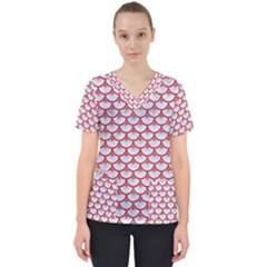 Scales3 White Marble & Red Denim (r) Scrub Top by trendistuff