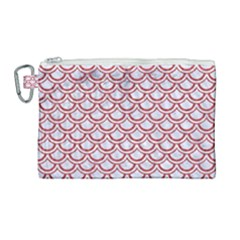 Scales2 White Marble & Red Denim (r) Canvas Cosmetic Bag (large) by trendistuff
