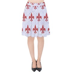 Royal1 White Marble & Red Denim Velvet High Waist Skirt by trendistuff