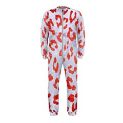Skin5 White Marble & Red Brushed Metal Onepiece Jumpsuit (kids) by trendistuff
