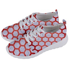 Hexagon2 White Marble & Red Brushed Metal (r) Men s Lightweight Sports Shoes by trendistuff