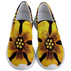 Yellow Flower Stained Glass Colorful Glass Women s Lightweight Slip Ons by Sapixe